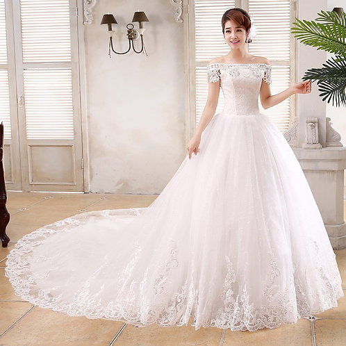 White Christian & Catholics Wedding Long Train Dress QT16 With Sleeves