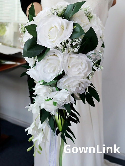 Christian Bridal White Green Bouquet GownLink India B 64