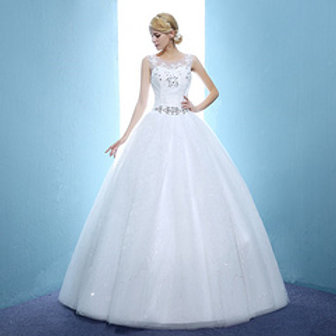 Christian Gown Beautiful O Neck Wedding  Dress Ball Gown HMD16050066