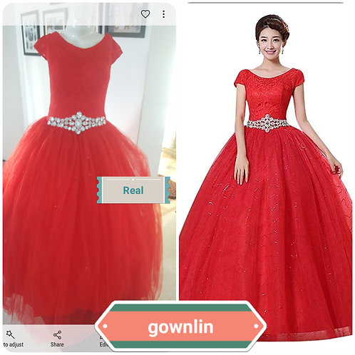 Red Wedding Stud Gown Wedding Ball Dress Red