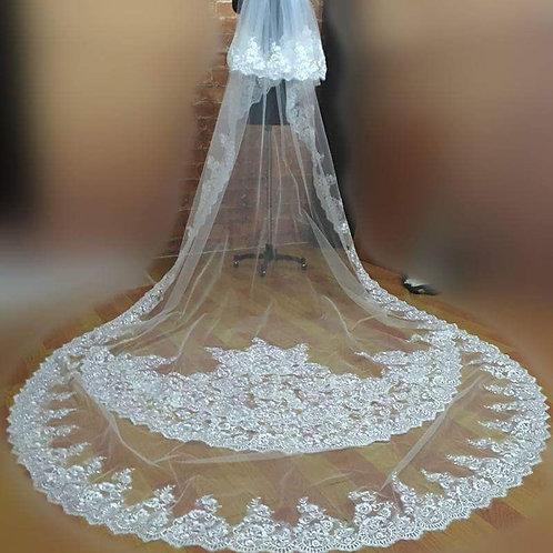Beautiful Long Christian Wedding Train Veil GLVHL11