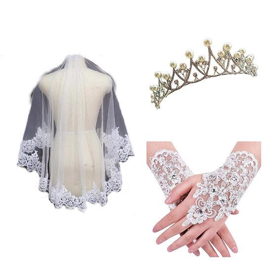 Gownlink Crystal Tiara Crown Wedding Bridal Pearl Headband, Bridal Wedding Veil