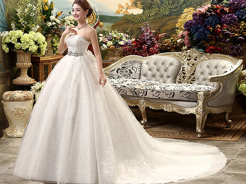 White Christian & Catholics Wedding Long Train Gown MD002 With Sleeves