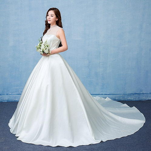 White Christian & Catholics Wedding Long Train Gown GLQD202 With Sleeves