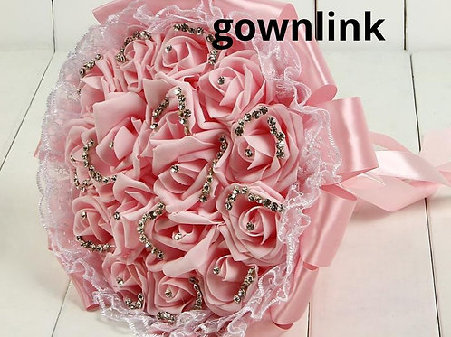 Christian Bridal Pink  Rose Bouquet With Stones  India