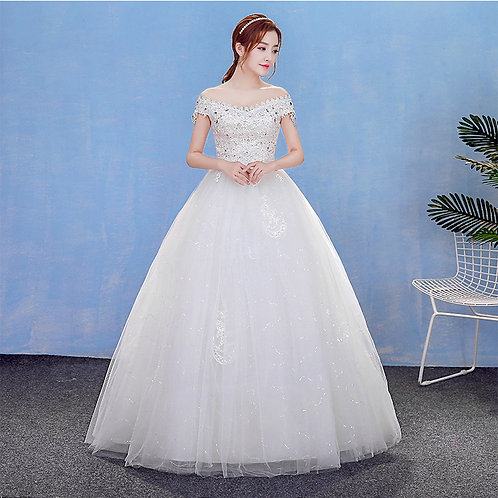 Christian Wedding Gowns Catholic Gowns White Wedding Frock HM7004 With Sleeves