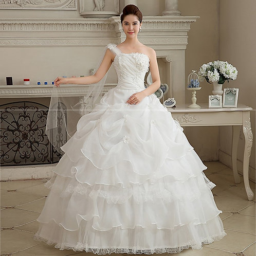 One Shoulder Christian Wedding Special Occasion Gown T307