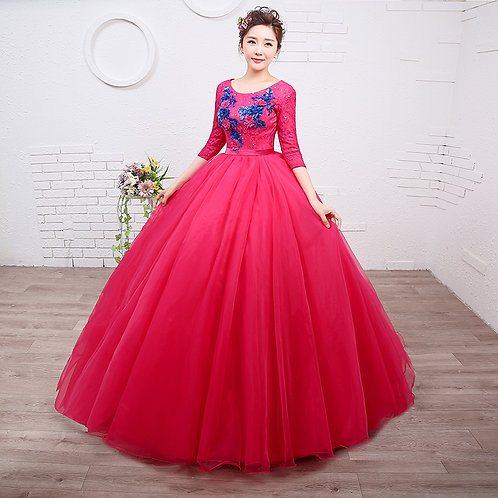 Pink Ball Gown Wedding /  Dress / Party /Special Long Sleeves Gown RR21113-2