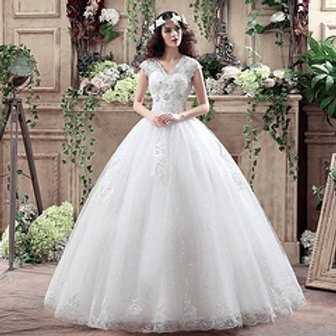 V Neck Beautiful Wedding Studs Ball Gown HMD16050042