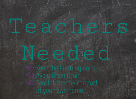 TEACHERS, WE NEED YOU!