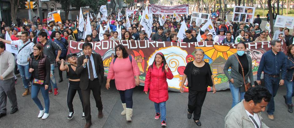 Marchan Organizaciones Soc. para exigir presupuesto para vivienda y reconstrucción por los sismos.