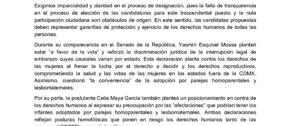 Parlamento de Mujeres, se pronuncia en contra de la terna, para la Suprema  Corte de Justicia.
