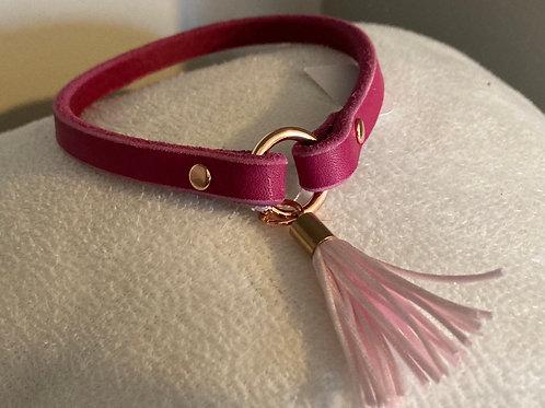 Markenband mit Tassel Pink / Rosé Breite: 10 mm