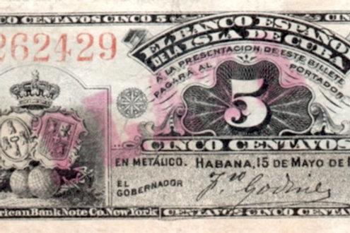 CUBA 1896 EL BANCO ESPAÑOL DE LA ISLA DE CUBA 5 CENTAVOS