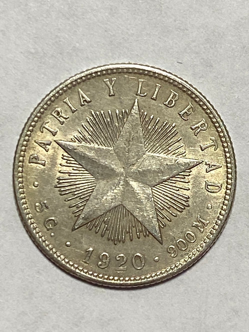 20 centavos 1920 cubasúper condition silver