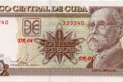 CUBA 10 PESOS 2015 UNC MAXIMO GOMEZ - BCC