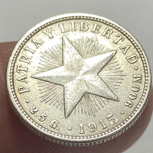 CUBA 1915 SILVER 10 CENTAVOS #0012