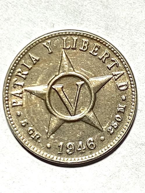 CUBA 1946 súper condition 5 centavos