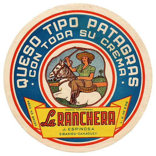 1950s period Sibanicu Camaguey Queso La Ranchera label. 4 inches of diameter.