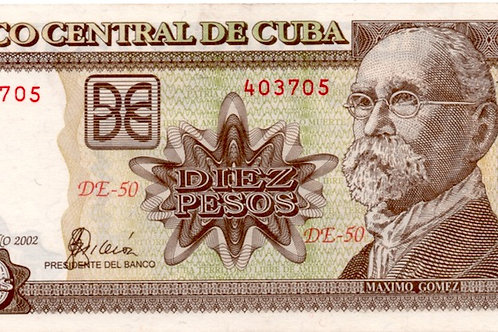CUBA 10 PESOS 2002 SERIE DE-50  MAXIMO GOMEZ.