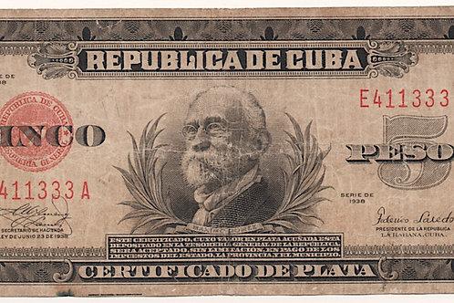 5 PESOS REPUBLICA DE CUBA CERTIFICADO DE PLATA.