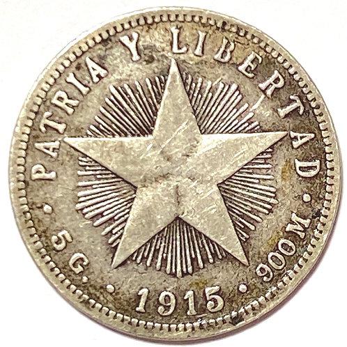Cuba 20 centavos  silver  Plata #a03
