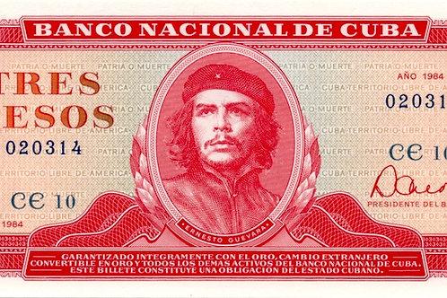 1984CUBA 3 PESOS SUPER CONDICION ALTO GRADO CHE