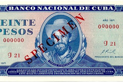 1971 CUBA 20 PESOS SPECIMEN CAMILO CIENFUEGOS UNCIRCULATED.