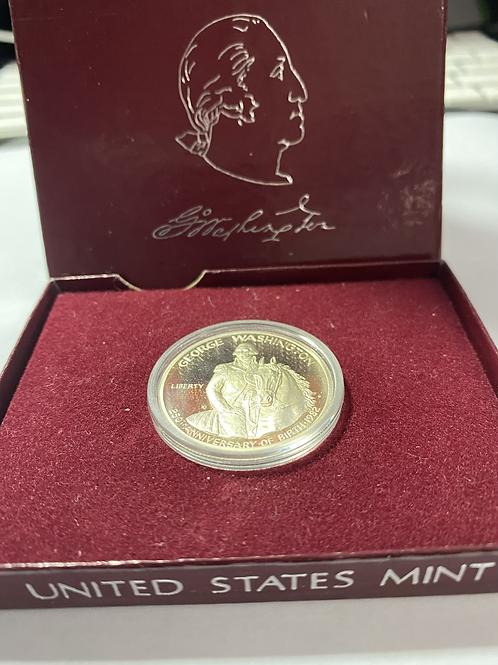 US PROOF 1982 silver commemorative HALF DOLLAR 1732-1982 en su estuché.