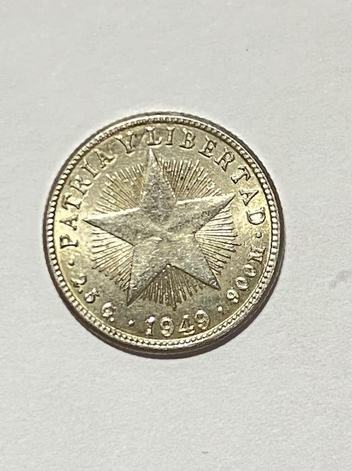 CUBA 10 CENTAVO 1949 silver