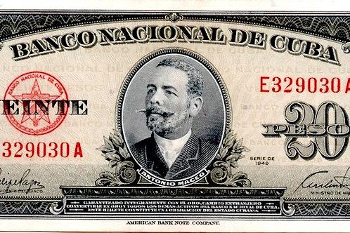 CUBA 1949 A. MACEO 20 PESOS SIN CIRCULAR # SERIES ROJO.