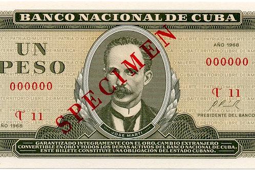 1968 CUBA 1 PESO SPECIMEN UNCIRCULATED