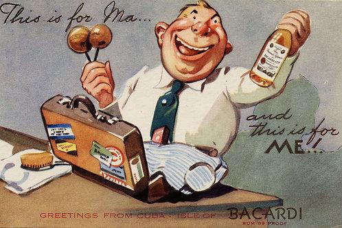 1940s period Cuba Bacardi Rum Advertising Postcard. 5.5 x 3.5 inches. Very Good