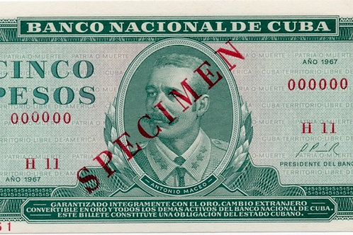 1967 CUBA 5 PESOS SPECIMEN UNCIRCULATED