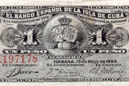 cuba 1 peso  1896 el banco español de la isla de cuba sin cuño de plata