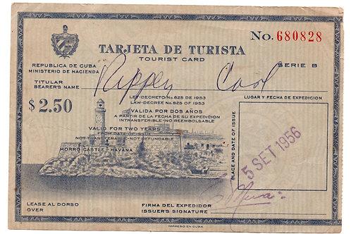 CUBA 1956 TARJETA DE TURISTA TURIST CARD $ 2.50 MINISTERIO DE HACIENDA