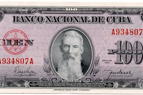 1950 CUBA 100 PESOS # SERIES RARO AGUILERA UNC