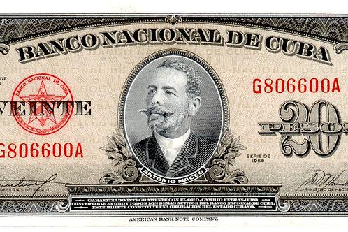 20 PESOS 1958 #RARO G806600A ANTONIO MACEO UNCIRCULATED