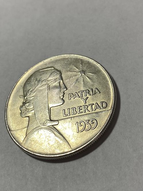 CUBA 1 PESO 1939 ABC SILVER