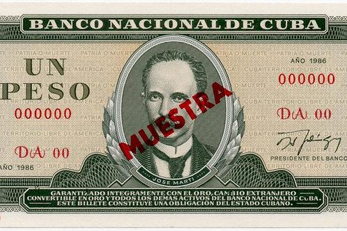 1986CUBA 1 PESO MUESTRAUNCIRCULATED