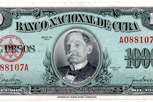 1950 CUBA 1000 PESOS SUPER CONDICION  VERY SCARCE  TOMAS ESTRADA PALMA
