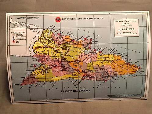RON BACARDI mapa de la provincia de Oriente, Cuba.