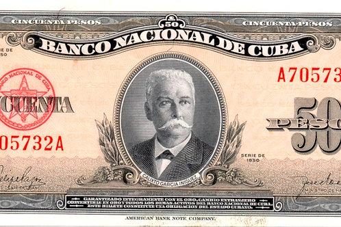 1958 CUBA 50 PESOS UNCIRCULATED