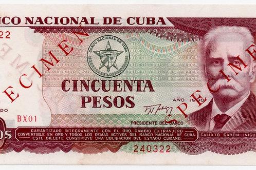 1990 CUBA 50 PESOS SPECIMEN  Y REMPLAZO UNCIRCULATED.