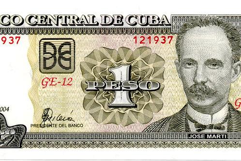 CUBA 1 PESO 2004 GE-12 UNCIRCULATED BCC.