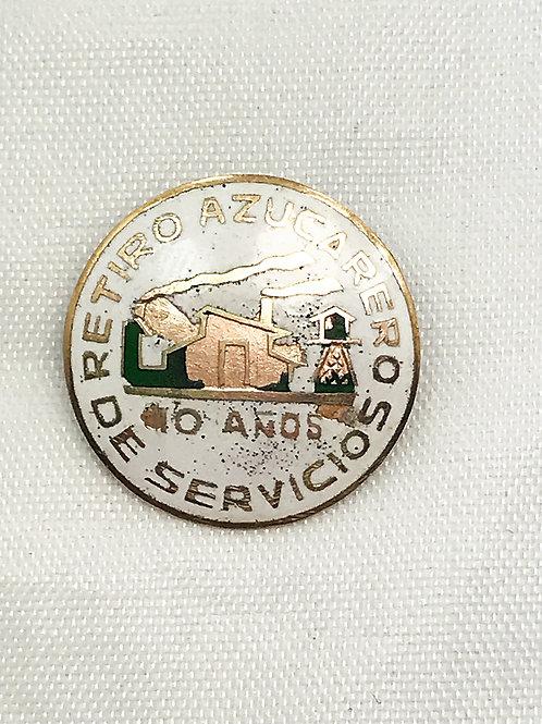 1950s CUBA RETIRO DE 10 AÑOS DE SERVICIO AZUCARERO PIN.