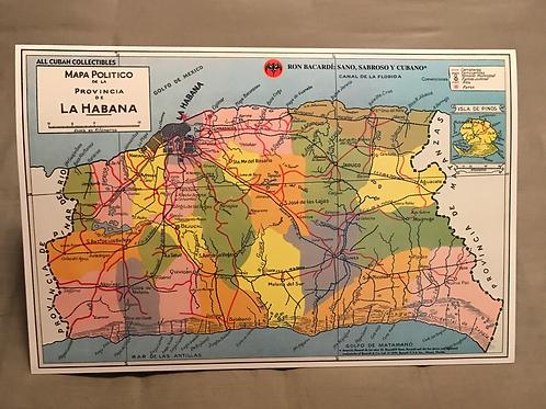 RON BACARDI Mapa Provincia de la Habana,Cuba.