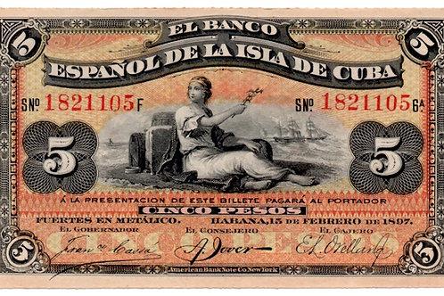 1897 AÑO ESCASOEL BANCO ESPAÑOL DE LA ISLA DE CUBA 5 PESOS SIN CUÑO DE PLATA