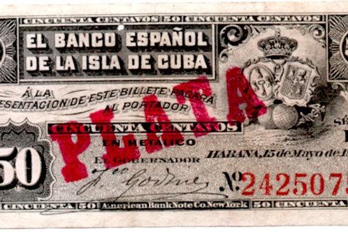 EL BANCO ESPAÑOL DE LA ISLA DE CUBA 50 CENTAVOS CUÑO DE PLATA 1896 COLONIAL