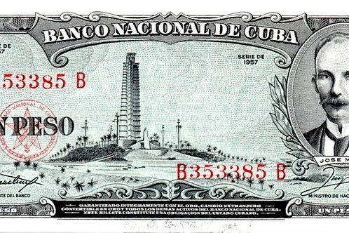 1 PESO CUBA 1957 JOSE MARTI  UNCIRCULATED